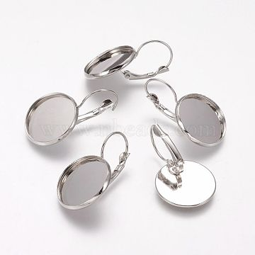 Brass Leverback Earring Findings, Round, Platinum, 20mm wide, 32mm long; Tray: 18mm; Pin: 0.8mm(X-KK-H024-P)
