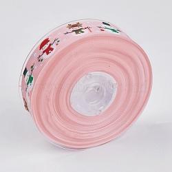 """Rubans gros grain imprimés polyester, le thème de Noël, bonhomme de neige, rose, 1"""" (25 mm); environ 100yards / rouleau (91.44m / rouleau)(ORIB-E002-D02)"""