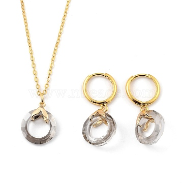 Glass Jewelry Sets, Brass Cable Chains Pendant Necklaces & Hoop Earrings, with Brass Ice Pick Pinch Bails and Huggie Hoop Earring Findings, Ring, Golden, Light Grey, 18.19 inches(46.2cm), 31mm, Pin: 1mm(SJEW-JS01122-01)