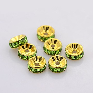 Brass Rhinestone Spacer Beads, Grade AAA, Straight Flange, Nickel Free, Golden Metal Color, Rondelle, Peridot, 5x2.5mm, Hole: 1mm(RB-A014-Z5mm-07G-NF)