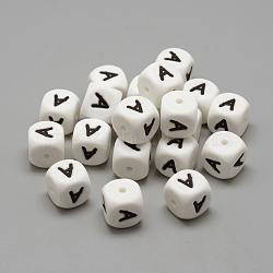Экологические силиконовые бусины, жевательные бусины для чайников, DIY уход за ожерельем, стиль письма, кубические, белые, 12x12x12 мм, отверстие : 2 мм(SIL-R001-A)