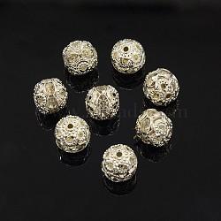 Perles en laiton de strass, Grade a, de couleur métal argent, rond, cristal, 8mm(X-RB-A011-8mm-01S)