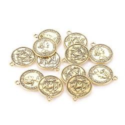 Pendentifs de style tibétain , sans plomb, pièce de monnaie, de couleur or antique , 23x19x1mm, Trou: 1.5mm(TIBEP-A19776-AG-LF)