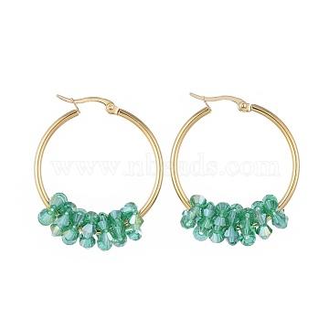 304 boucles d'oreilles en acier inoxydable, avec des perles de verre à facettes, or, vert, 42x33x2 mm; broches: 0.8x1.2 mm(EJEW-JE03572-05)