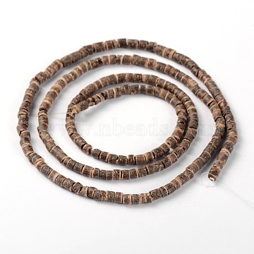Natural Coconut Column Bead Strands, Camel, 3.5x2~5mm, Hole: 1mm; about 193pcs/strand, 22.8inches(COCB-O001-04)