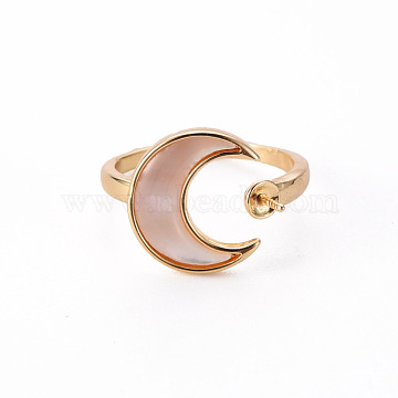 Brass Peg Bails Cuff Finger Ring Settings, with Natural Shell, for Half Drilled Bead, Nickel Free, Moon, Real 18K Gold Plated, US Size 6(16.5mm), Pin: 0.8mm(KK-T062-70G-NF)