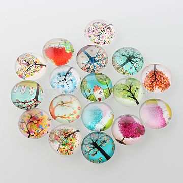 Tree of Life Printed Half Round/Dome Glass Cabochons, Mixed Color, 10x4mm(X-GGLA-A002-10mm-GG)