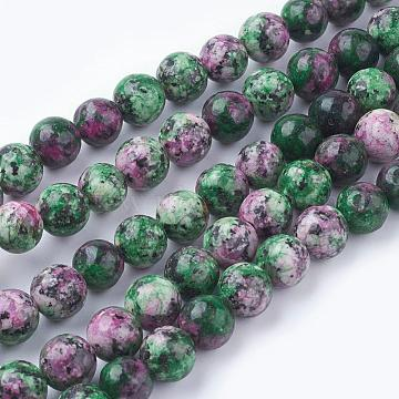 Natural Gemstone Beads Strands, Dyed, Imitation Ruby in Zoisite, Round, Colorful, 8mm, Hole: 1mm, about 49pcs/strand, 15.7 inches(X-G-G086-8mm-1)