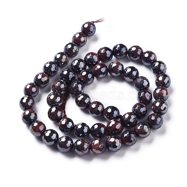Electroplated Natural Tiger Eye Beads Strands(G-F660-02-8mm)-2