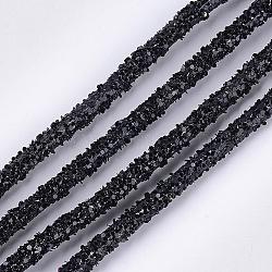 Corde en caoutchouc synthétique tubulaire de PVC environnemental, tuyau creux, avec paillette, noir, 5~6mm, trou: 2mm; environ 50m / paquet(RCOR-S001-01G)