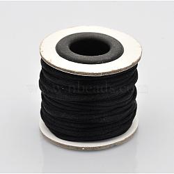Cordons fil de nylon tressé rond de fabrication de noeuds chinois de macrame rattail, noir, 2 mm; environ 10 m/rouleau(X-NWIR-O001-A-05)