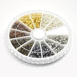 1 box 6 couleur protecteur de fil gardien en laiton, couleur mixte, 5x4x1mm, trou: 0.5 mm; environ 540 / boîte(KK-X0054)