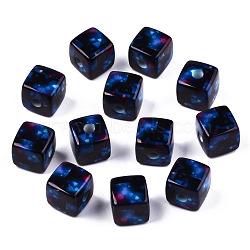Printed Acrylic Beads, Cube, Black, 12.5x12.5x12.5mm, Hole: 3.5mm(SACR-S305-06)