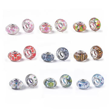 Resin European Beads, Large Hole Beads, with Silver Color Plated Brass Cores, Faceted, Rondelle, Flamingo Pattern, Mixed Color, 14x8~8.5mm, Hole: 4.5~5mm(RPDL-S013-11-M)