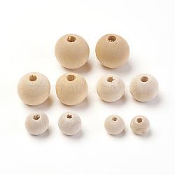 незаконченные деревянные бусы, натуральные деревянные свободные шарики, свинца, вокруг, мокасин, 8 мм / 10 мм / 12 мм / 14 мм / 16 мм, отверстия: 2~3 mm; 250 шт / мешок