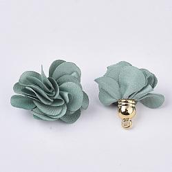 Décorations de pendentif en tissu, avec les accessoires acryliques, fleur, darkcyan, 25~30x28~35mm, Trou: 2mm(X-FIND-P026-D07)