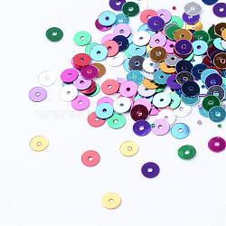 Accessoires ornement de perles de paillette en plastique, perles de paillettes, disque, couleur mélangée, 5x0.2 mm, trou: 1 mm; environ 40000 pcs / 500 g(PVC-R014-5mm-M)