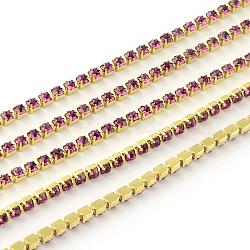 chaines de strass en laiton sans plaqué sans nickel, chaîne de tasse de rhinestone, 1440 pcs strass / bundle, Grade A, rose, 3 mm, 5.1 m / bundle(CHC-R119-S12-09C)