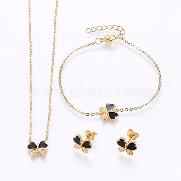 304 Stainless Steel Jewelry Sets, Pendant Necklaces & Stud Earrings & Bracelets, with Enamel, Butterfly, Golden, 16.93 inches(43cm); 7-1/8 inches(18cm); 9x11x2mm; Pin: 0.8mm(SJEW-H129-24G)