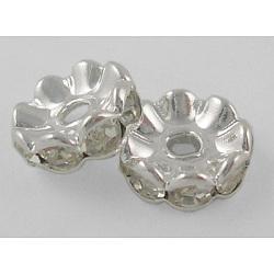 middle east strass perles d'espacement, effacer, laiton, plaqué argent, sans nickel, taille: environ 6 mm de diamètre, 3 mm d'épaisseur, trou: 1 mm(X-RSB028NF-01)