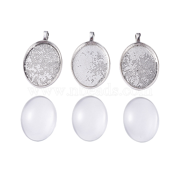 DIY Pendant Making, with Alloy Pendant Cabochon Settings and Transparent Clear Oval Glass Cabochons, Antique Silver, 39x25x3mm, Hole: 4mm(DIY-X0098-86AS)