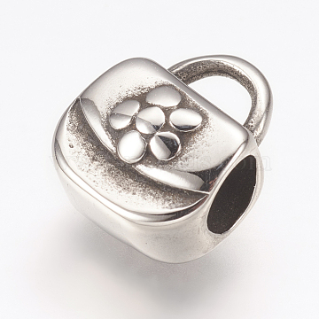 304 Stainless Steel European Beads, Large Hole Beads, HandBag with Flower, Antique Silver, 11.5x10x7mm, Hole: 4mm(X-STAS-G164-63AS)