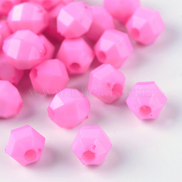 Faceted Oval Opaque Acrylic Beads, Pearl Pink, 6x5.5x5.5mm, Hole: 1.5mm(X-PAB3044Y-17)