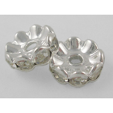 6mm Clear Rondelle Brass + Rhinestone Spacer Beads