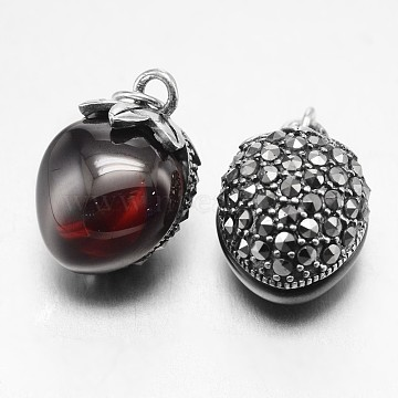 Thai Sterling Silver Style Strawberry 925 Silver Rhinestone Pendants, with Red Corundum, Antique Silver, 17x12x11mm, Hole: 3mm(STER-F011-203)