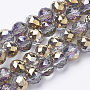 """Electroplat Glass Beads Strands, Rainbow Plated, Faceted, Round, Gold, 8x7.5mm, Hole: 1.6mm; about 72pcs/strand, 21.26"""""""