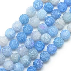 6mm CornflowerBlue Round Weathered Agate Beads(G-S237-6mm-01)