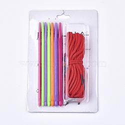 Crochets en crochet en plastique abs, avec couleur de corde aléatoire, couleur mixte, 149x4~7mm; broches: 4~7mm; 7pcs / set(TOOL-T006-27)