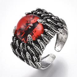 Bagues en alliage de verre, anneaux large bande, oeil de dragon, argent antique, rouge, taille 10, 20mm(RJEW-T006-05C)