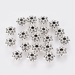 Tibetan Style Flower Spacer Beads, Lead Free & Cadmium Free, Antique Silver, about 9mm in diameter, 5mm long, hole: 2mm(X-LF1057Y)