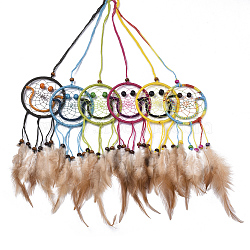 Chicken Feather Handmade Woven Net/Web with Feather Big Pendants, with Natural Wood Beads, Cotton and Waxed Cord, Smiling Face, Mixed Color, 200~230x65x3~8mm(AJEW-S080-004)