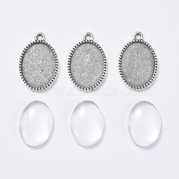 Clear Oval Alloy+Glass Pendant Making
