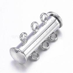 Fermoirs à coulisse en laiton à  3-brins, 6 trous, platine, 20x11.5x6mm, Trou: 2.5mm(X-KK-S131-14)