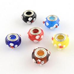 rondelle chalumeau grand trou perles européennes, avec des noyaux de laiton de ton argent, couleur mélangée, 15x10 mm, trou: 5 mm(X-LPDL-R003-07)