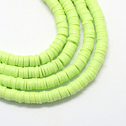 Environmental Handmade Polymer Clay Beads, Disc/Flat Round, Heishi Beads, Light Green, 4x1mm, Hole: 1mm; about 380~400pcs/strand, 17.7 inches(X-CLAY-R067-4.0mm-24)