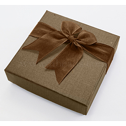 Square Bowknot Organza Ribbon Cardboard Bracelet Bangle Gift Boxes, Camel, 9x9x2.7cm(BC148-02)