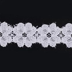 "Ruban en nylon avec garniture en dentelle pour la fabrication de bijoux, blanc, 1/2"" (12 mm); environ 300yards / rouleau (274.32m / rouleau)(ORIB-F003-128)"