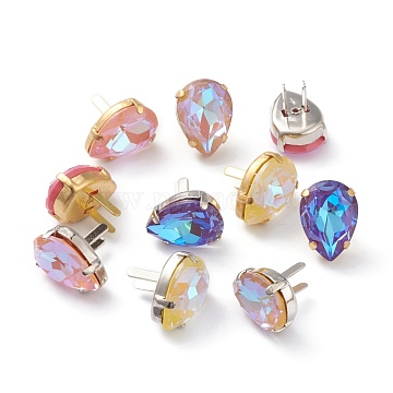 Brass Shoes Buckle Clips, with Glass Rhinestone, for Shoes Bag Decoration, Purse Hardware Accessoriess, Teardrop, Platinum & Golden, Mixed Color, 13x18x8mm(RGLA-H005-A-MI)