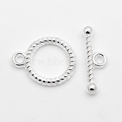style tibétain fermoirs toggle, sans plomb et sans cadmium, plaqué argent, anneau: 13x16 mm, barre: 6x18 mm, trou: 2 mm(X-K093H021)