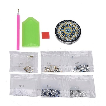 DIY Diamond Painting Stickers Kits For Plastic Mirror Making, with Glass, Resin Rhinestones, Diamond Sticky Pen, Tray Plate and Glue Clay, Flat Round with Mandala Pattern, Mixed Color, 73x70x9mm(DIY-F059-39)