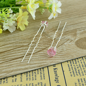 Lady's Hair Accessories Silver Color Plated Iron Glass Rhinestone Heart Hair Forks, PearlPink, 72mm; 20pcs/box(PHAR-S188-03)