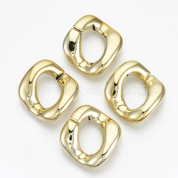 UV Plating Acrylic Linking Rings, Quick Link Connectors, for Twisted Chains Making, Twist, Golden, 31x29x7mm, Inner Diameter: 17x11mm(X-OACR-N009-003A-B02)