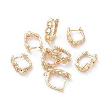 Accessoires de boucle d'oreilles en laiton, avec boucle, Plaqué longue durée, véritable plaqué or, 19x13x5mm, trou: 1.2 mm; broches: 0.8 mm(KK-L180-111G)