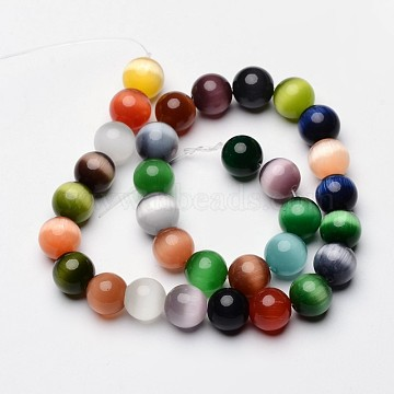 13 inches Mixed Color Cat Eye Beads, Bead: 12mm in diameter; hole: 1mm; about 30pcs/strand(X-CE036-1)
