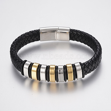 Braided Leather Cord Bracelets, with 304 Stainless Steel Beads Findings and Magnetic Clasps, Black, 8-5/8 inches(220mm), 29x14x8mm(X-BJEW-H560-69)