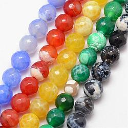 Natural Agate Bead Strands, Round, Grade A, Faceted, Dyed & Heated, Mixed Color, 10mm, Hole: 1mm; about 37pcs/strand, 15inches